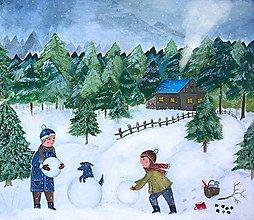 Obrazy - Staviame snehuliaka / reprodukcia ilustracie - 11299103_
