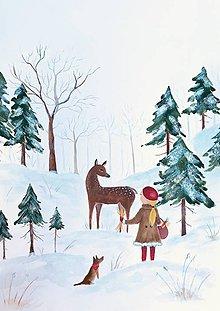 Obrazy - Srnka v lese / reprodukcia ilustracie - 11299124_
