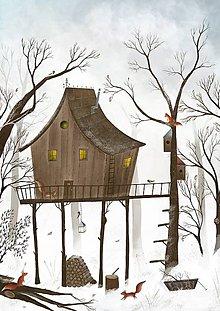 Obrazy - Vevericky a stromodom / reprodukcia ilustracie - 11299754_