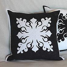 Úžitkový textil - Polštář s bílou aplikací - 11300210_