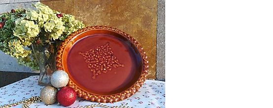 Nádoby - Honosný keramický podnos na dobroty - hnedozelený - 11299351_
