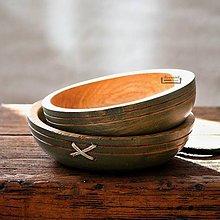 Nádoby - Set dubových misiek olivových - 11298760_