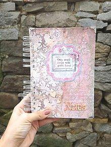 Papiernictvo - Romantický vintage zápisník / notes / diár - 11301073_