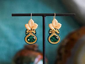 Náušnice - Smaragdové náušnice s lístkami - 11300367_