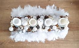 Dekorácie - zlato bielo béžový luxusný adventný svietnik s pierkami - 11300800_