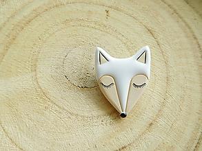 Odznaky/Brošne - Polárna líška spí brošňa - 11299466_