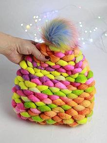 """Čiapky - NEON Chunky """"Handspunka"""" extra hrubá pletená vlnená merino čiapka - 11300368_"""