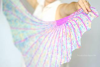 Šatky - Fluorescent Sun Vol.3 Pletená šatka z ručne farbenej merino vlny - 11300818_