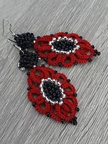 Náušnice - Červeno- hnedé frivolitkové - 11298795_