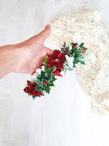 Ozdoby do vlasov - Kvetinový venček ,,vianočný,, - 11301413_