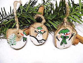 Dekorácie - Vianočné ozdoby maľované - drevené - sada - 11300891_