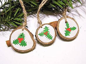 Dekorácie - Drevené vianočné ozdoby prírodné - maľované - sada - 11300986_