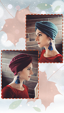 Čiapky - Turban čiapka  (Modrá) - 11301425_