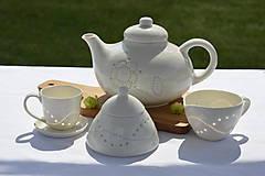 Nádoby - Madeirový porcelánový mliečnik vzor vlnky - 11299302_