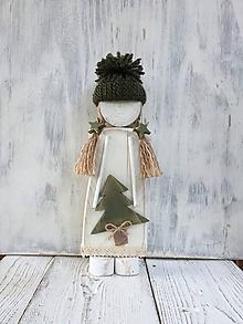 Dekorácie - Vianočný drevený anjelik - 27 cm (Zelená) - 11300176_