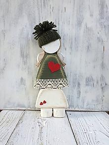 Dekorácie - Vianočný drevený anjelik - 27 cm (Zelená) - 11300190_