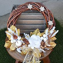 Dekorácie - Venček vianočný zlatý - 11299071_