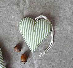 Dekorácie - Srdiečko - séria zelený pásik (Srdce 1) - 11300168_