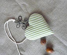 Dekorácie - Srdiečko - séria zelený pásik (Srdce 2) - 11300169_