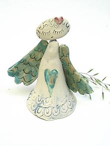 Dekorácie - anjel so širokými krídlami zelený  (Zelená) - 11298776_
