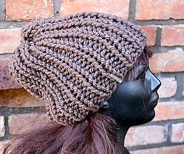 Čiapky - Pletená čiapka čokoláda - 11300433_