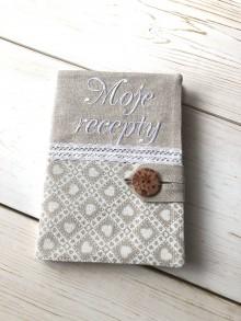 Papiernictvo - Z30 - vyšívaný obal na zápisník Moje recepty - 11300320_