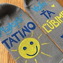 Obuv - Maľované šedé ponožky pre najlepšieho TATINA - 11301484_