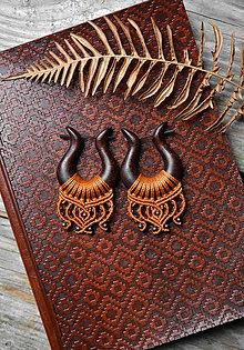 Náušnice - Drevené náušnice mahagónové •Amazonky• - 11299589_