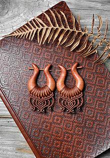 Náušnice - Drevené náušnice slivkové •Amazonky• - 11299663_