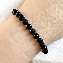 Náramky - Black Tourmaline Bracelet / Elastický náramok s pravým čiernym turmalínom skorylom - 11302862_