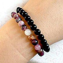 Náramky - 2 Tourmaline Bracelets Set / Elastické náramky čierny a farebný turmalín - cena za 2 ks - 11303758_