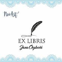 Nezaradené - Pečiatka EX LIBRIS pierko ornament - 11304836_