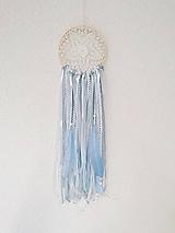 Dekorácie - Lapač snov 13cm modro-biely - 11302889_