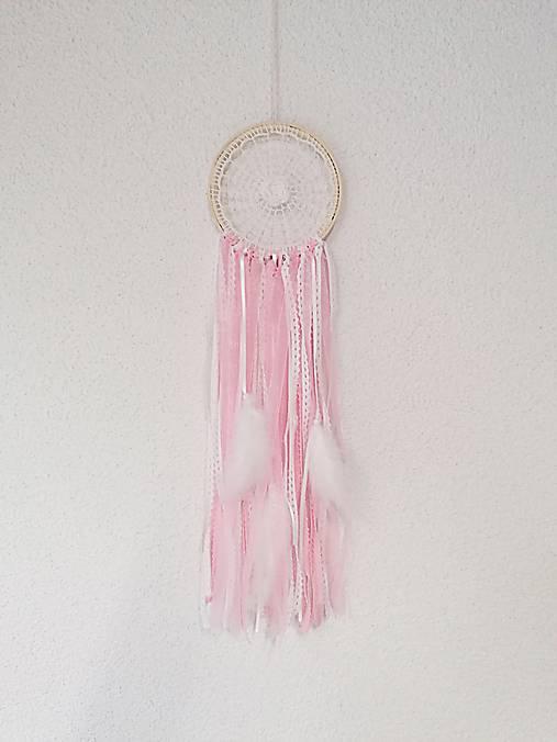 Lapač snov 13cm ružovo-biely