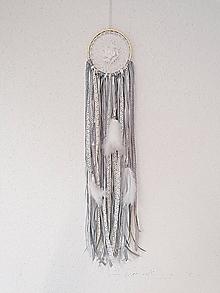 Dekorácie - Lapač snov 13cm sivo-krémovo-biely - 11302913_
