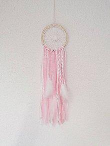 Dekorácie - Lapač snov 13cm ružovo-biely - 11302930_