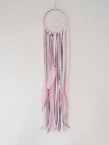 Dekorácie - Lapač snov 13cm ružovo-sivo-biely - 11302973_