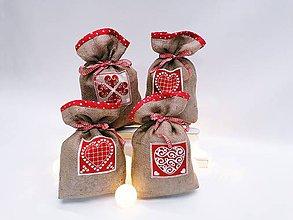 Úžitkový textil - Mikulášske jutové vrecúško - 11303735_