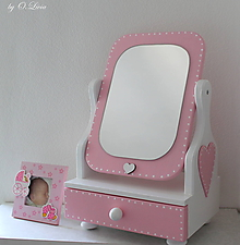 Zrkadlá - Rozprávkové 50 cm veľké zrkadlo - Srdiečko - 11303047_