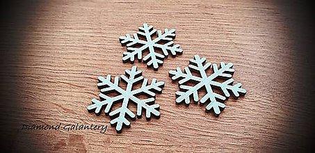 Galantéria - Vianočný výlisok Vločka - 45x40 mm - Svetlý Tyrkys (Tyrkysová) - 11305177_
