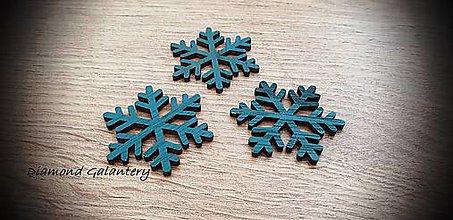 Galantéria - Vianočný výlisok Vločka - 45x40 mm - Svetlý Tyrkys (Tyrkysová) - 11305178_