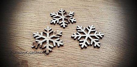 Galantéria - Vianočný výlisok Vločka - 45x40 mm - Svetlý Tyrkys (Béžová) - 11305179_