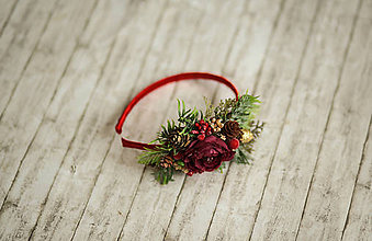 Ozdoby do vlasov - Vianočná kvetinová čelenka UNI veľkosť vhodná pre deti aj dospelé ženy - 11301686_
