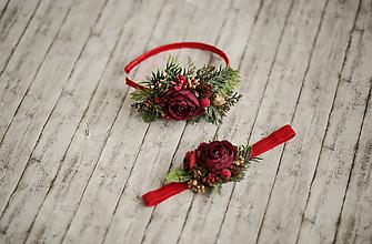 Ozdoby do vlasov - Vianočná čelenka pre bábätká červená - 11301695_