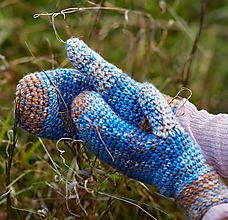 Rukavice - Modro-hnedé palčiaky - 11303618_