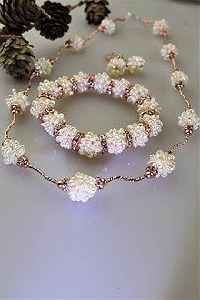 Sady šperkov - perly náramok, náhrdelník a náušnice - svadobný set - 11303675_