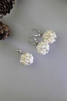 Sady šperkov - pravé perly striebro Ag925 náušnice a prívesok - 11305001_