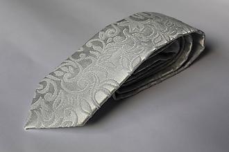 Doplnky - Luxusná šedá, svetlo sivá kravata - 11303059_