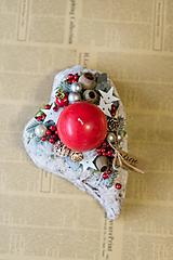 Vianoce - svietnik srdce - červený