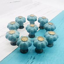 Polotovary - Porcelálová úchytka - vintage modrá - 11305010_